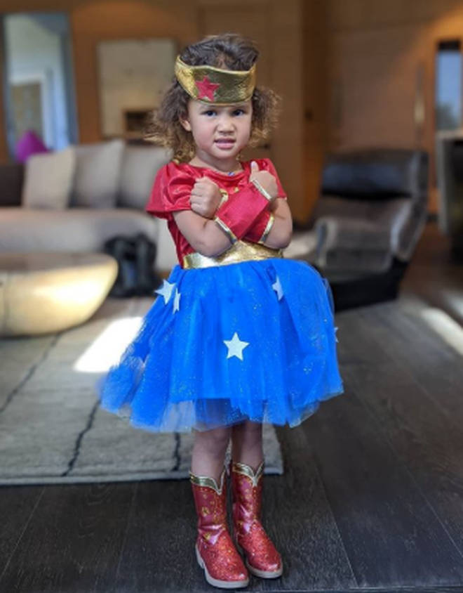 John Legend and Chrisyy Teigen's little one Luna looked ready to save the world in this Superwoman costume