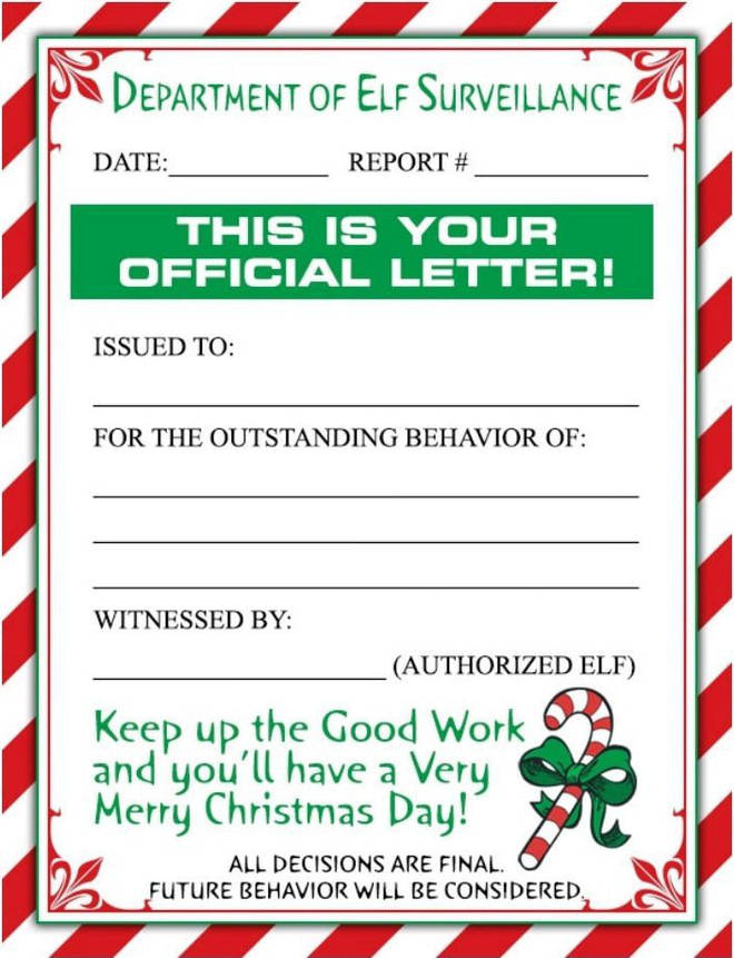 One of the letters encourages good behaviour