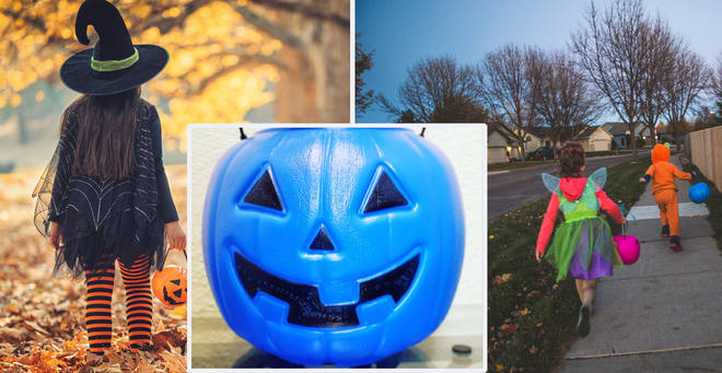 The mum has shared the reason why some kids carry blue pumpkins