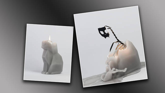 Burning this cat candle reveals a spooky surprise!