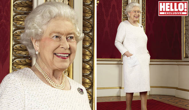 The Queen looked content as she posed like a model
