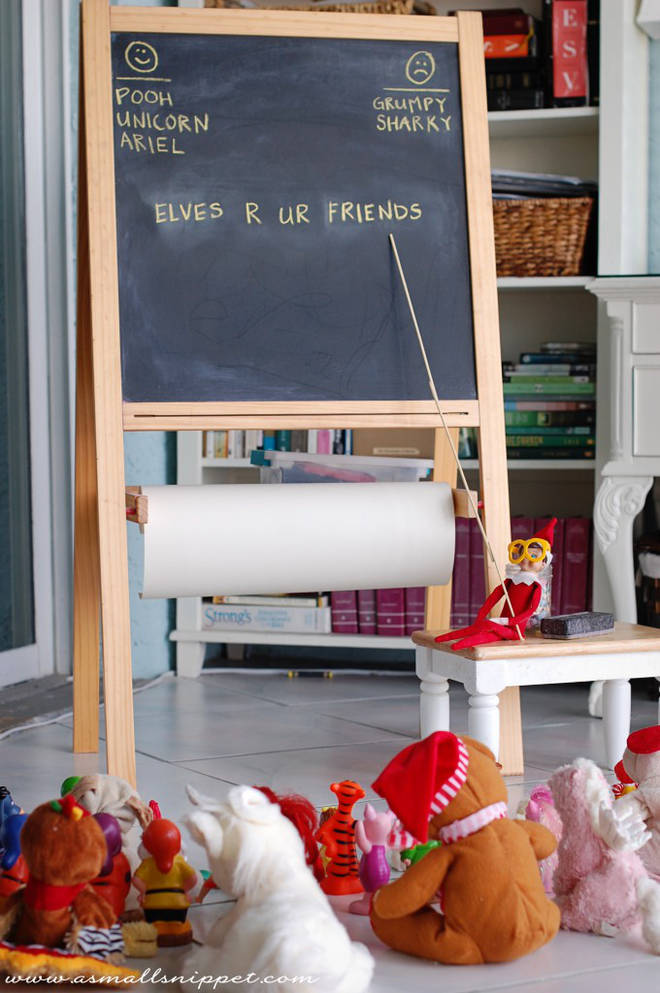 Even Elf likes to keep his school friends in check (even in the holidays).