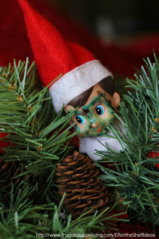 Get your kids searching for the camouflaged puppet in the tree.