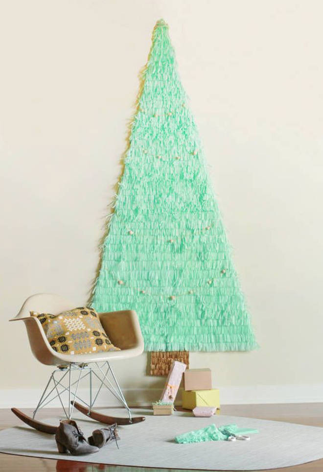 This mint green tissue paper tree is easy to recreate.