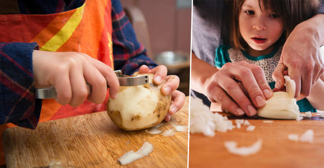 A mum has criticised her family for letting her daughter peel potatos