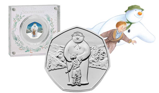 Royal Mint an honouring The Snowman with three coins