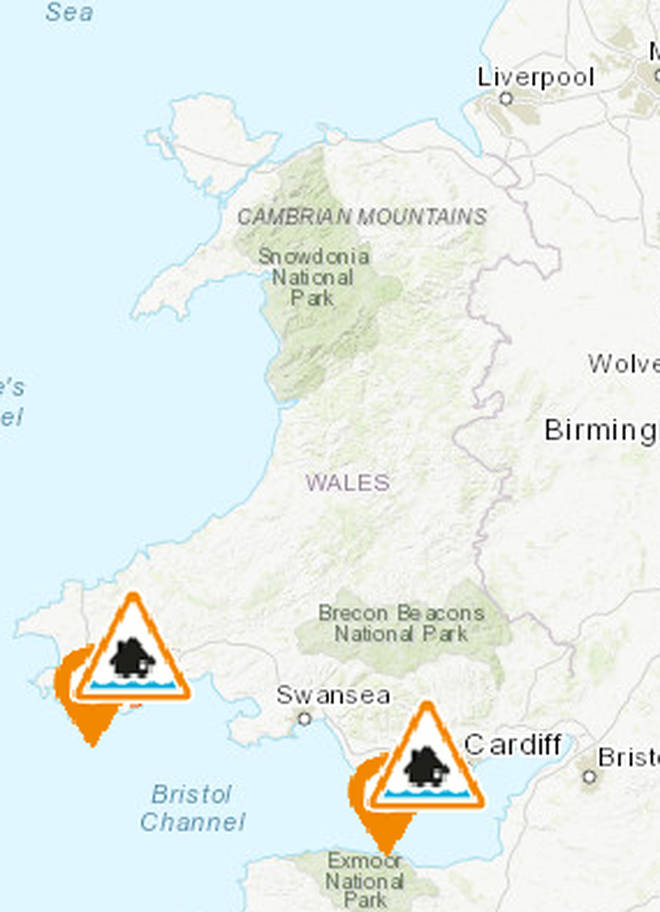 Both of Wales' alerts are in the south