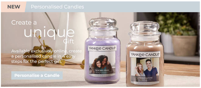 Yankee Candle offer a personalising service for certain candles