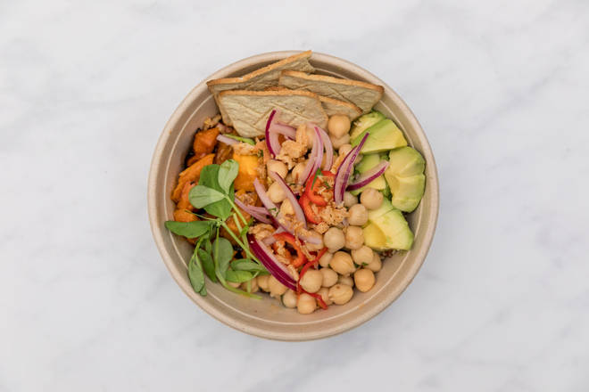 The vegan bowl uses chickpeas instead of fish