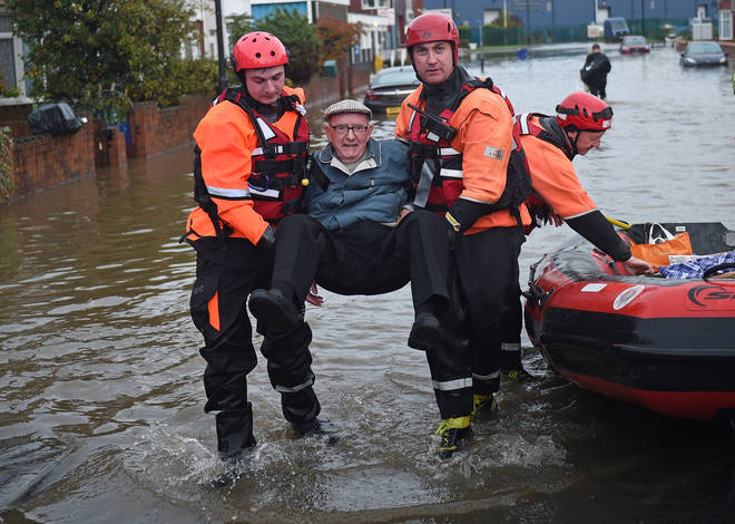 The Fire and Rescue service evacuated an elderly man from a flooded house in Bentley, Doncaster.