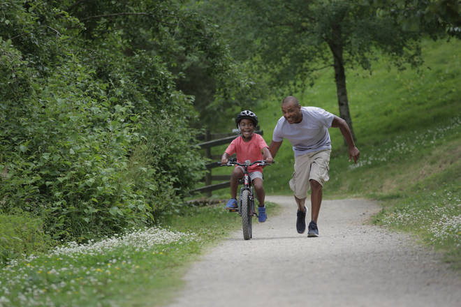 Teaching a child how to ride a bike can be stressful for parents and kids
