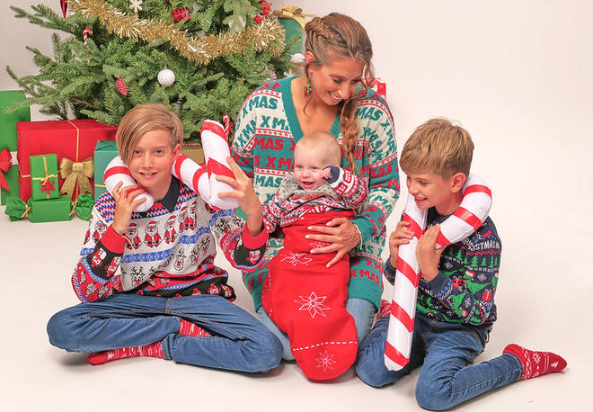 Stacey and her boys posed for Christmas cards