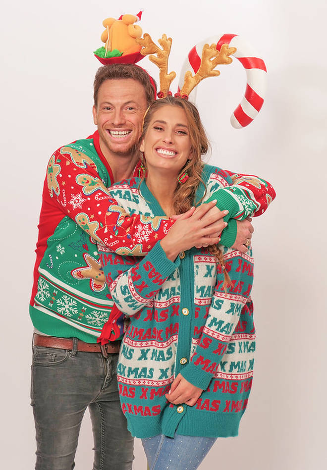 Stacey and Joe cuddled up for their Christmas card shoot