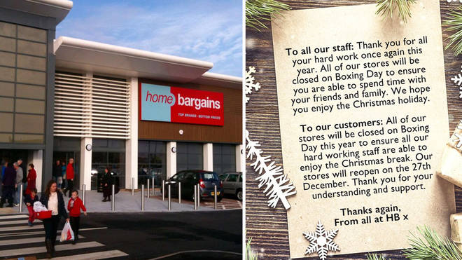 Home Bargains will stay closed on 26 December