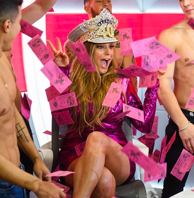 Kelly Brook gets a striptease from Magic Mike dancers as she celebrates her 'naughty 40th' birthday in the...