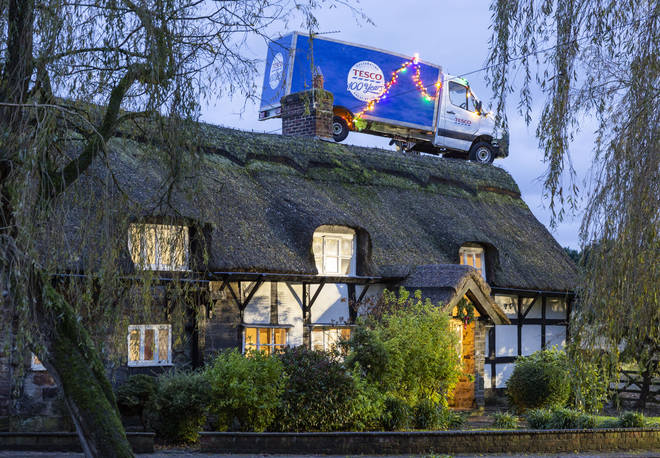 Tesco delivery van spotted on a roof in Cheshire as supermarket releases new Christmas ad