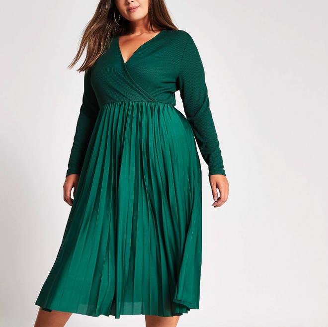 River Island's wrap pleated midi dress
