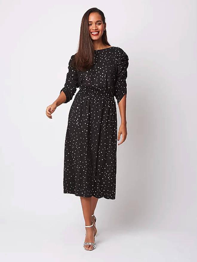 Asda Black Foil Star Print Midi Dress