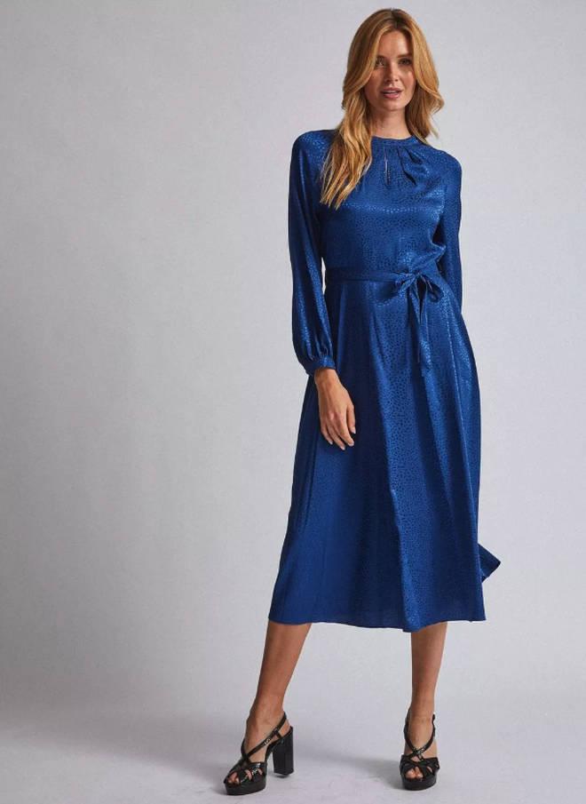 Dorothy Perkins Blue Jacquard Keyhole Midi Dress