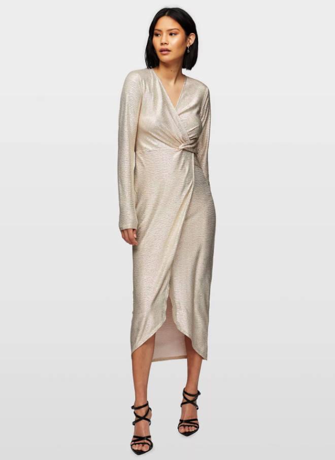 Miss Selfridge Nude Midi Wrap Dress