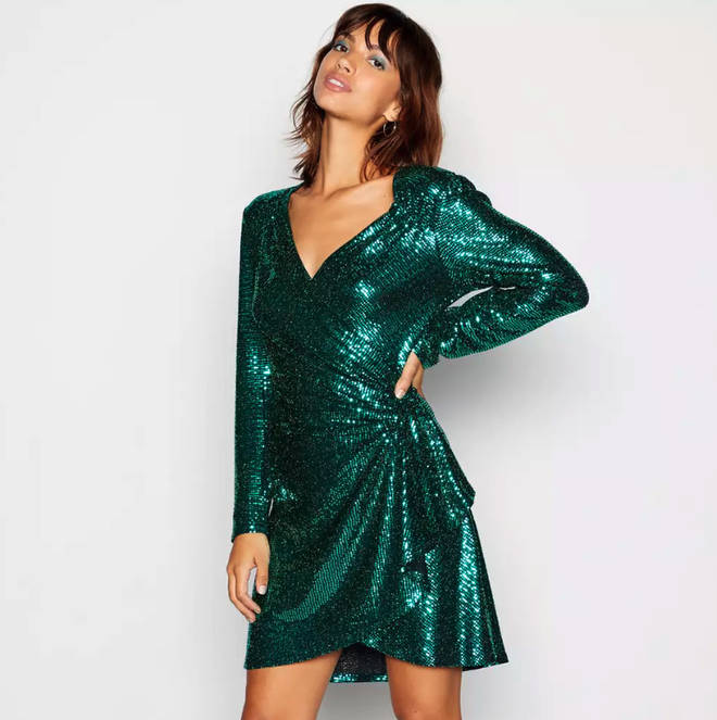 Red Herring Green Ruched Dress