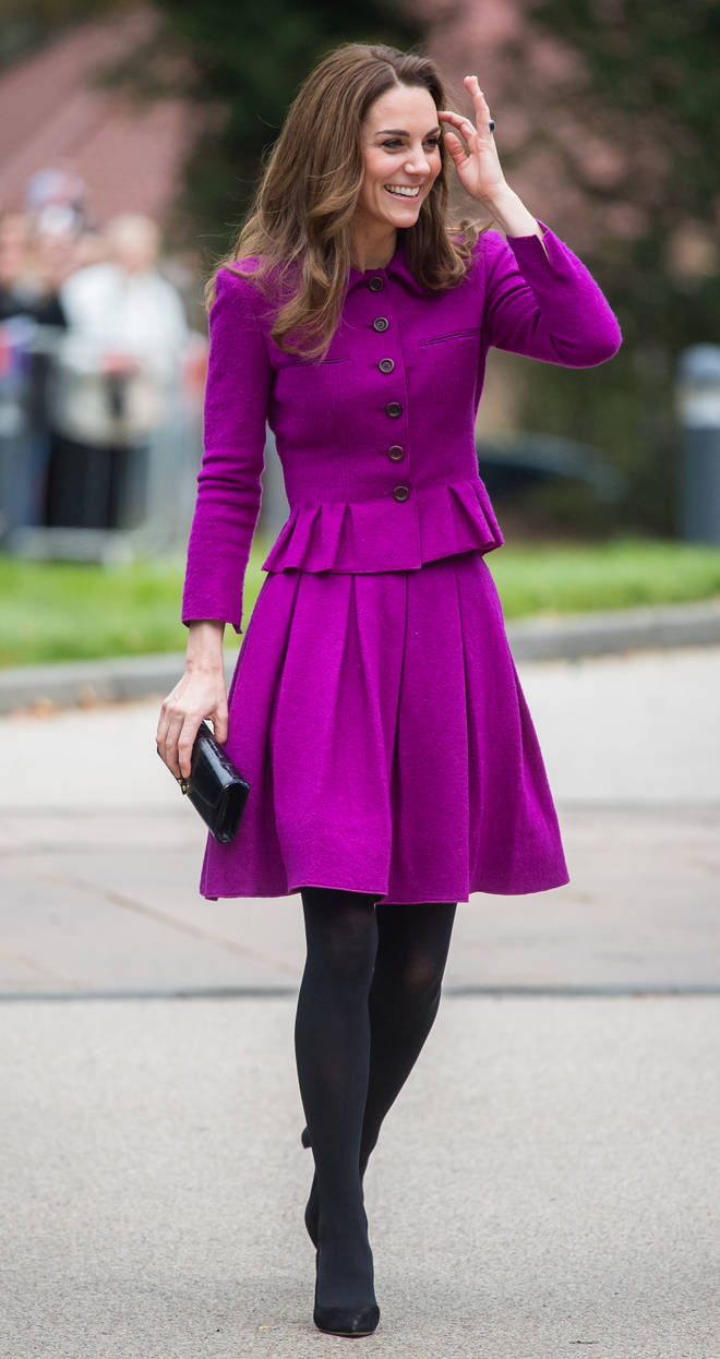 Kate Middleton opted for opaque black tights for the outing