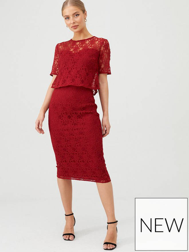 Very Floral Lace Overlay Pencil Dress
