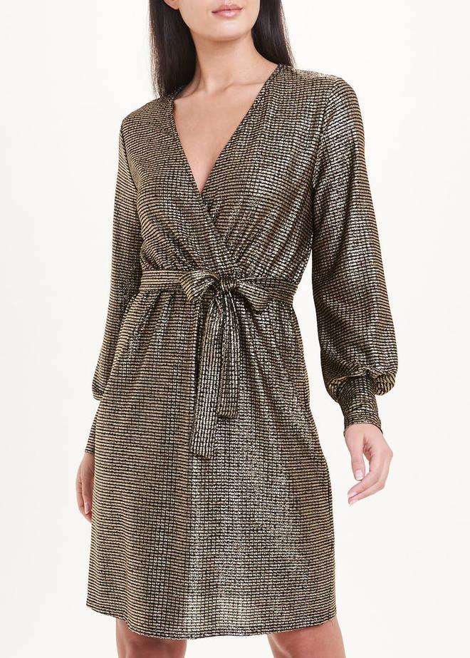 Matalan Metallic Wrap Dress