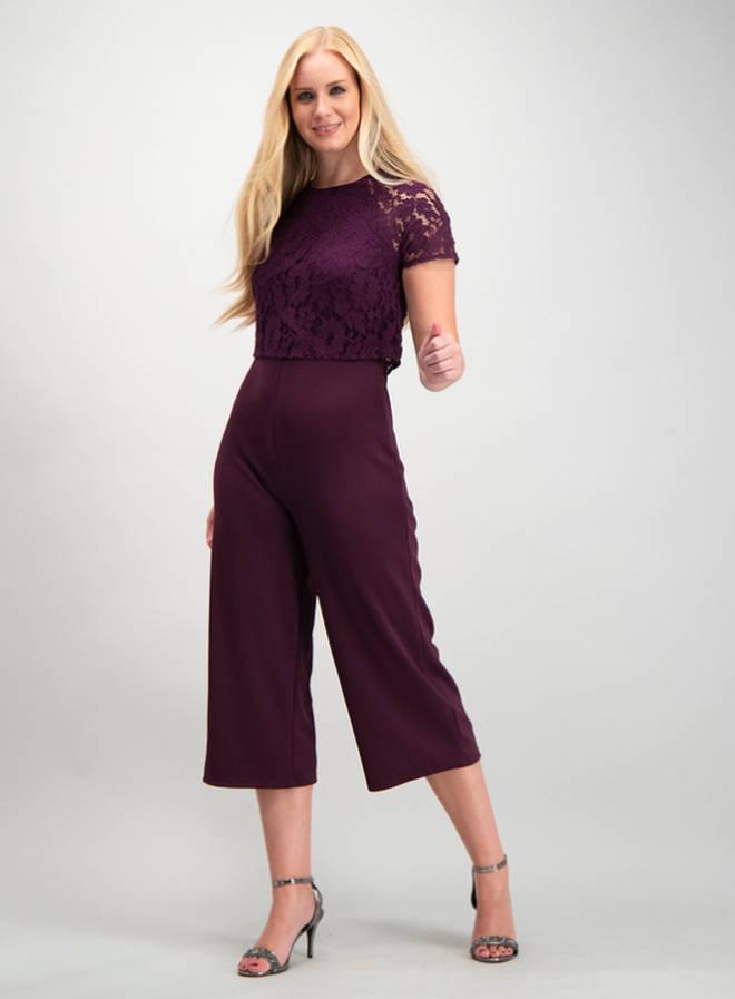 Sainsbury's Purple Double Layer Lace Jumpsuit