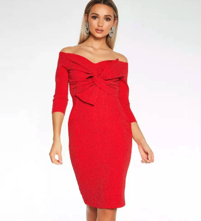 Quiz Red Glitter Bow Front Knee Length Dress