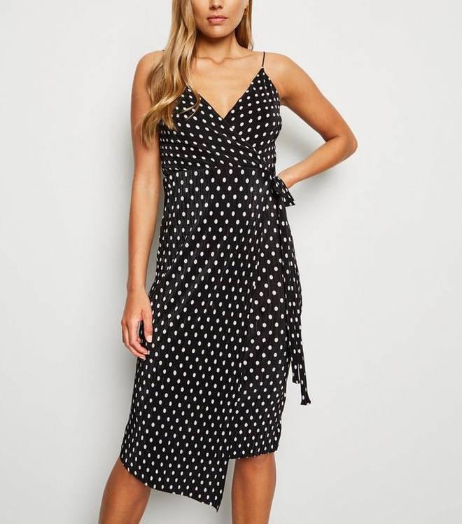 New Look Black Spot Print Plisse Midi Wrap Dress