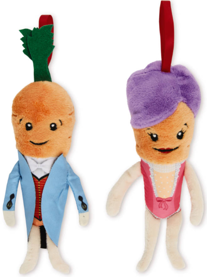 The collection includes Kevin and Katie the Carrot soft toys and tree decorations