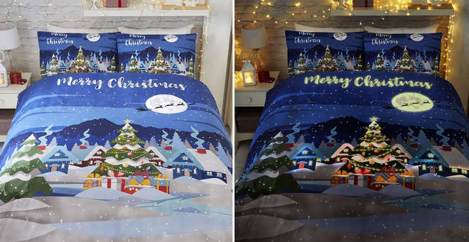 This glow-in-the-dark Christmas bedding is the stuff of dreams