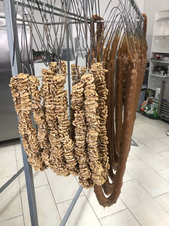 Variations of traditional Cypriot soutzoukos for sale in Arsos