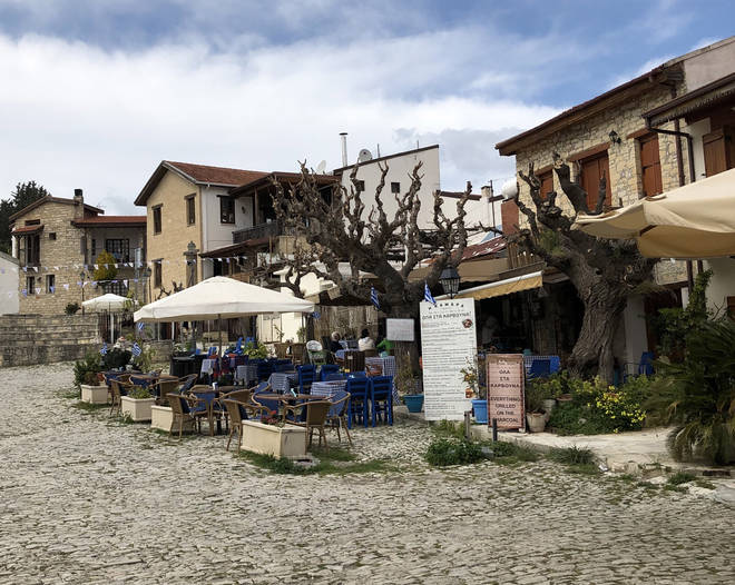 The square in Omodos, one of the most picturesque villages of Cyprus
