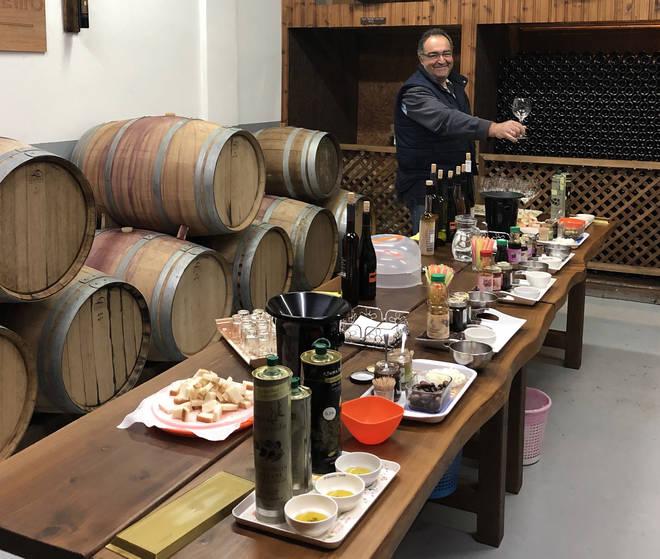 Winemaker Charilaos Athenodorou at his winery in Omodos