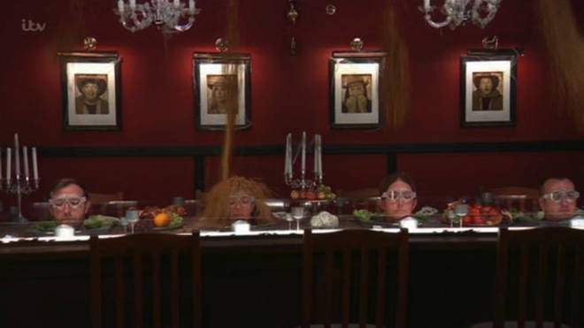 The celebrities had to put their heads on a table full of critters